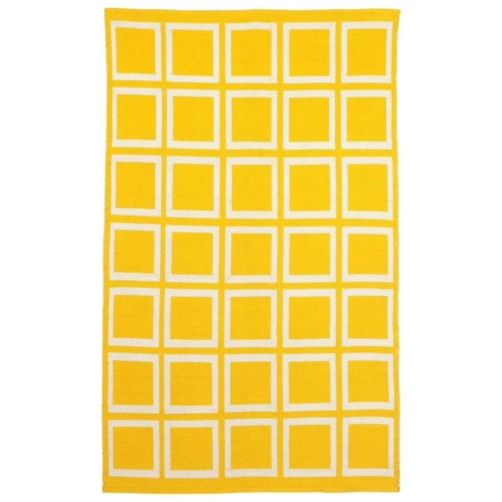 Fab Habitat Indo Hand-woven Sunny Mimosa Yellow/ Bright White Contemporary Geometric Area Rug (3' x 5')