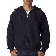 7711 Adult Cross Weave Full-Zip Hooded Sweatshirt - Navy, XL