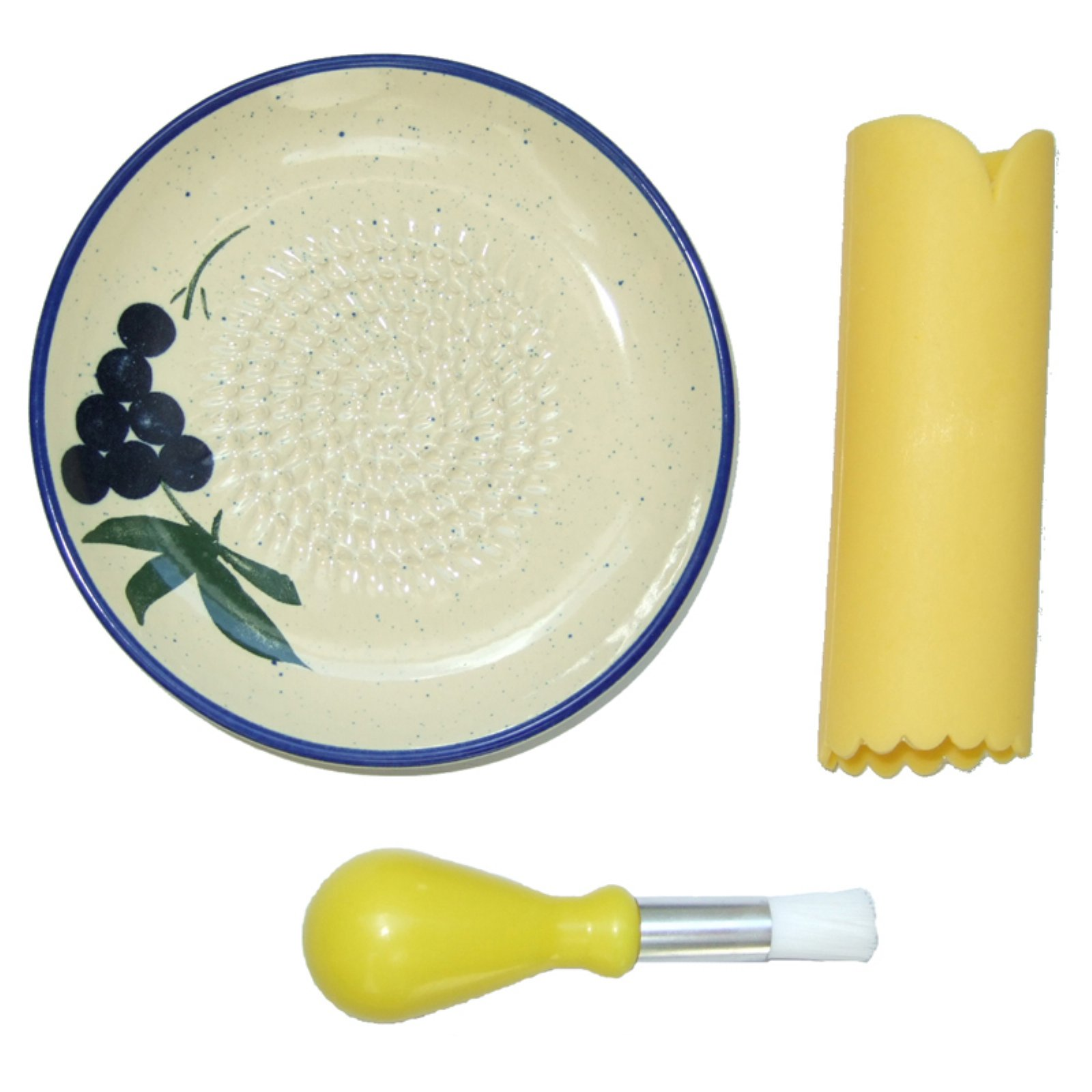 Cooks Innovations Ceramic Grater Plate 3 Piece Set - Grater, Peeler, & Brush - Beautiful Grape Design - Blue & Cream