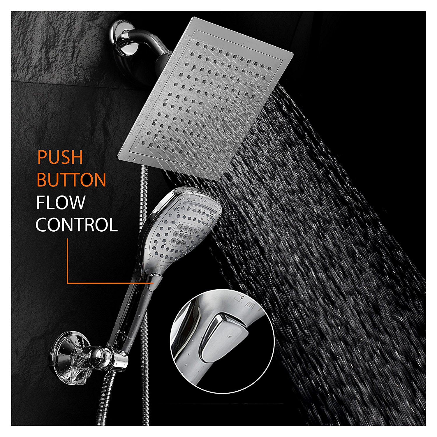 DreamSpa® Ultra-Luxury Rainfall Combo with Revolutionary Push-Control Hand Shower (Oval Square)