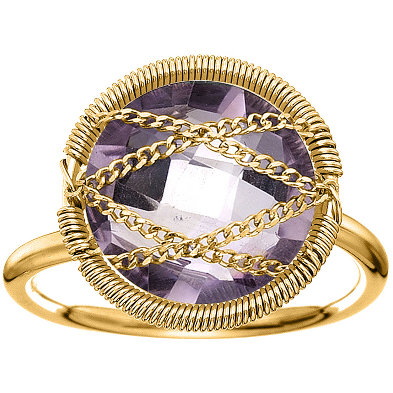 Image of 5th & Main 18kt Gold over Sterling Silver Hand-Wrapped Round Amethyst Stone Ring