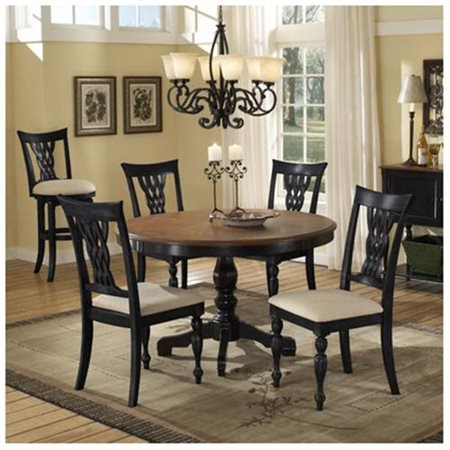 Hillsdale Embassy Round Pedestal Dining Table in Rubbed Black & (Fluted Cherry Pedestal)