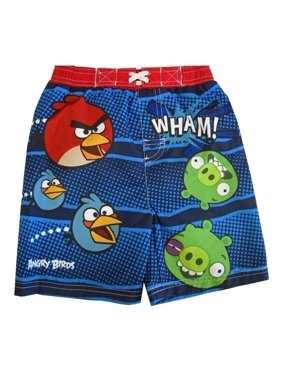 Angry Birds Little Boys Navy Red Green Cartoon Print Swimwear Shorts