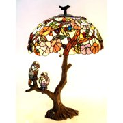 """CHLOE Lighting 4 Light Tiffany-style featuring Flowers & Birds Double Lit Table Lamp Oval Shape 19"""" Shade"""
