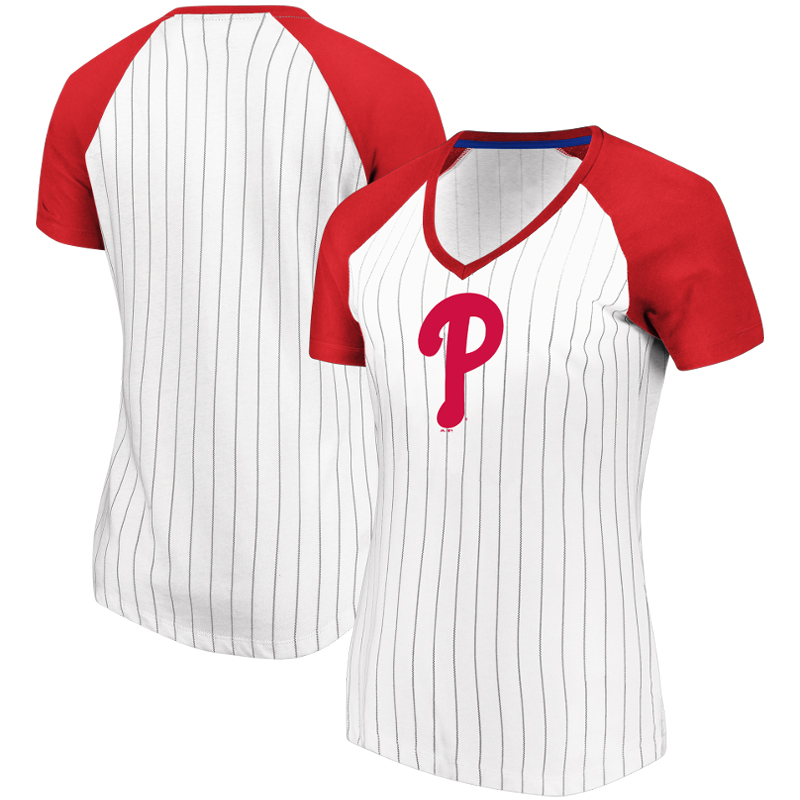 Philadelphia Phillies Majestic Women's Every Aspect Pinstripe Raglan V-Neck T-Shirt - White