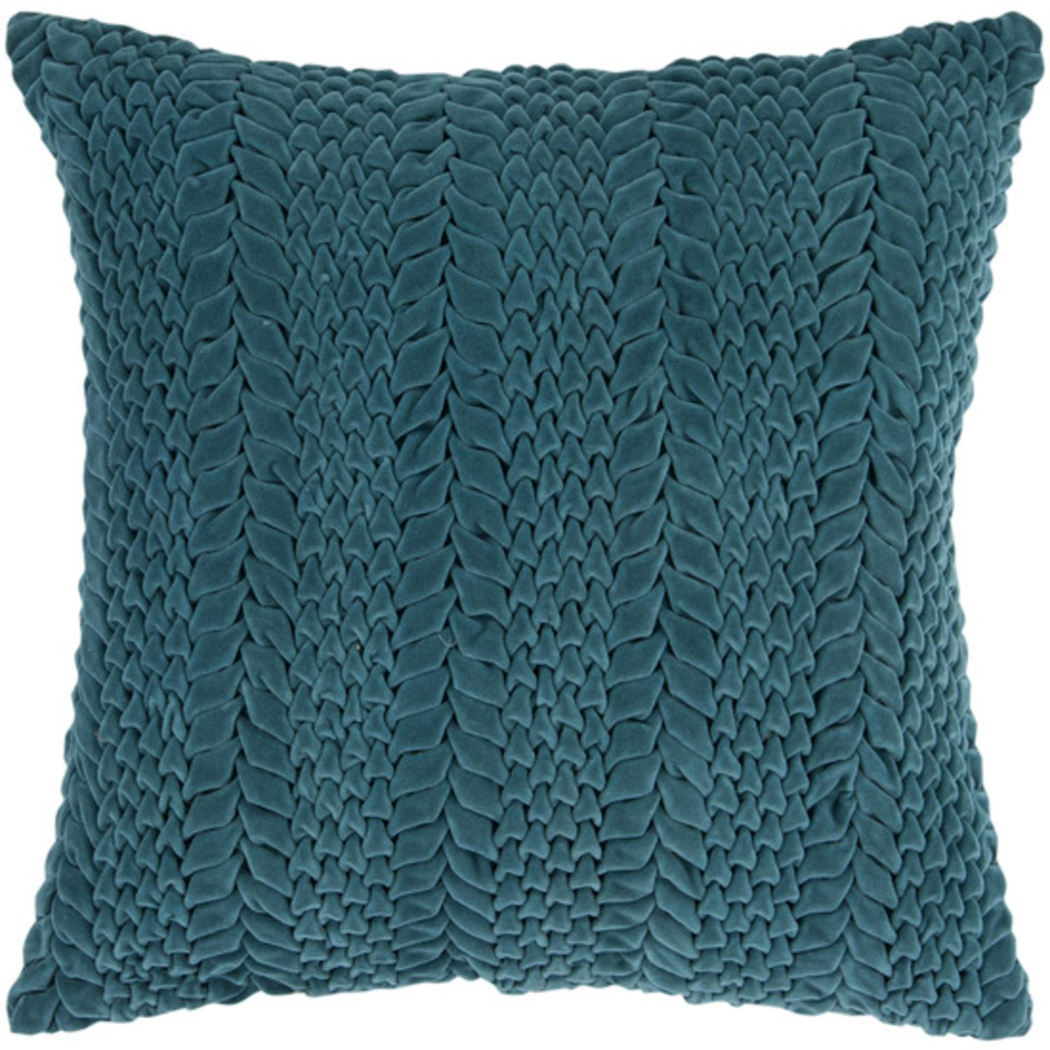 "18"" Teal Blue-Green Scale Pattern Decorative Throw Pillow"