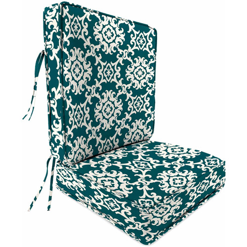 Jordan Boxed Edge Style 2-Piece Deep Seat Cushion with Piping, Multiple Patterns
