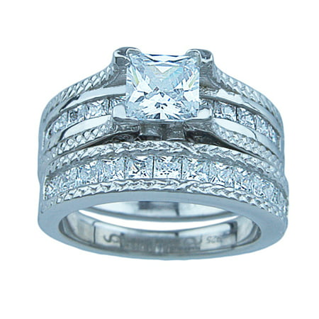Sterling Couture 925 Sterling Silver Princess Wedding Rings For