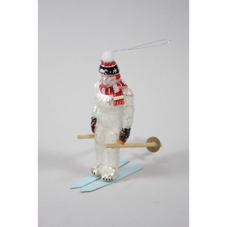 DOWNHILL YETI Abominable Snowman on Skis Christmas Ornament, by Cody