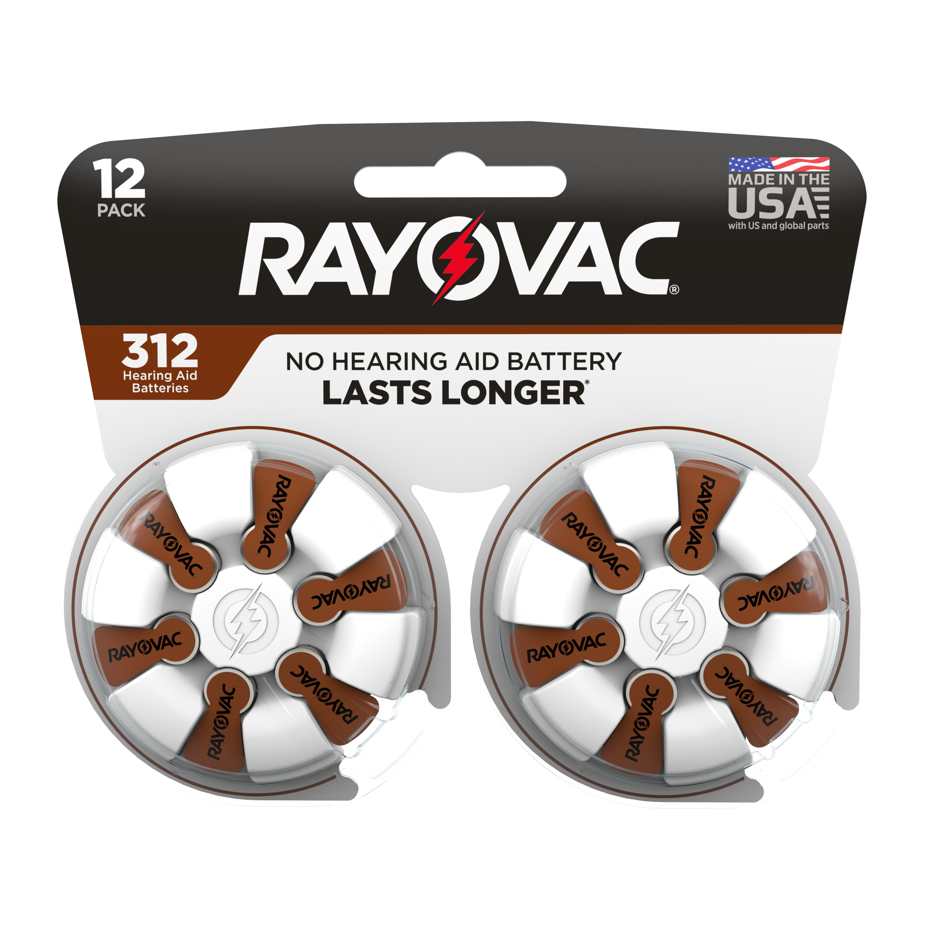 Rayovac Size 312 Hearing Aid Batteries, 12-Pack 312-12