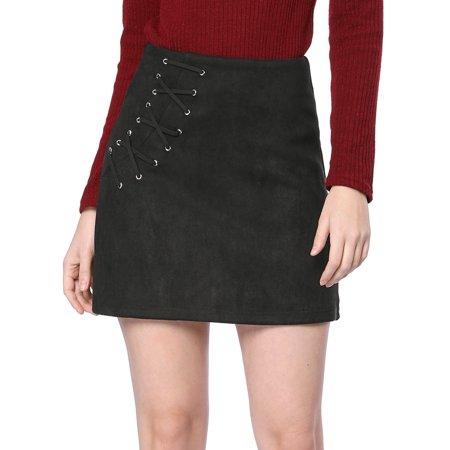 Unique Bargains Women's Eyelet Lace-up Faux Suede A-Line Skirt - Faux Fur Skirt