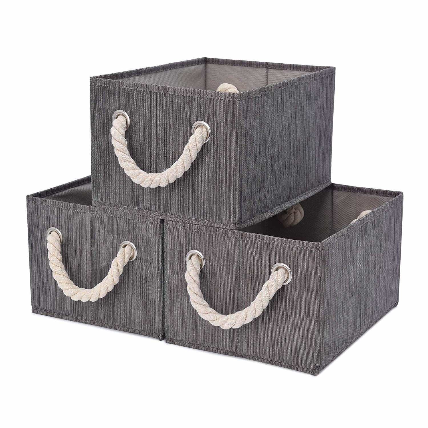 StorageWorks Foldable Storage Basket, 3-Pack, Large, Taupe, Bamboo Style, Cotton Rope Handles