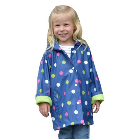 Girls Polka Dot Cardigan (Foxfire Little Girls Navy Shiny Polka Dotted Print Trendy Raincoat)