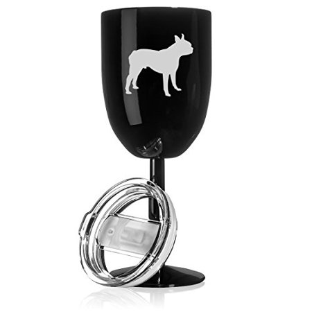 14 oz Double Wall Vacuum Insulated Stainless Steel Wine Tumbler Glass with Lid Boston Terrier (Black)
