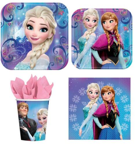 Frozen Elsa & Anna Party Express Pack for 8 Guests (Cups Napkins & Plates)