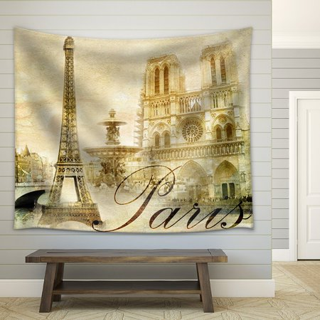 wall26 - Amazing Paris - Vintage Clipart - Fabric Wall Tapestry Home Decor - 68x80 inches