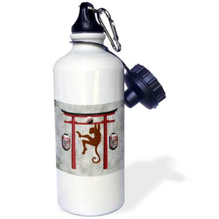 3dRose Monkey and Lanterns Hanging from Asian Arch, Sign of the Monkey, Sports Water Bottle, 21oz