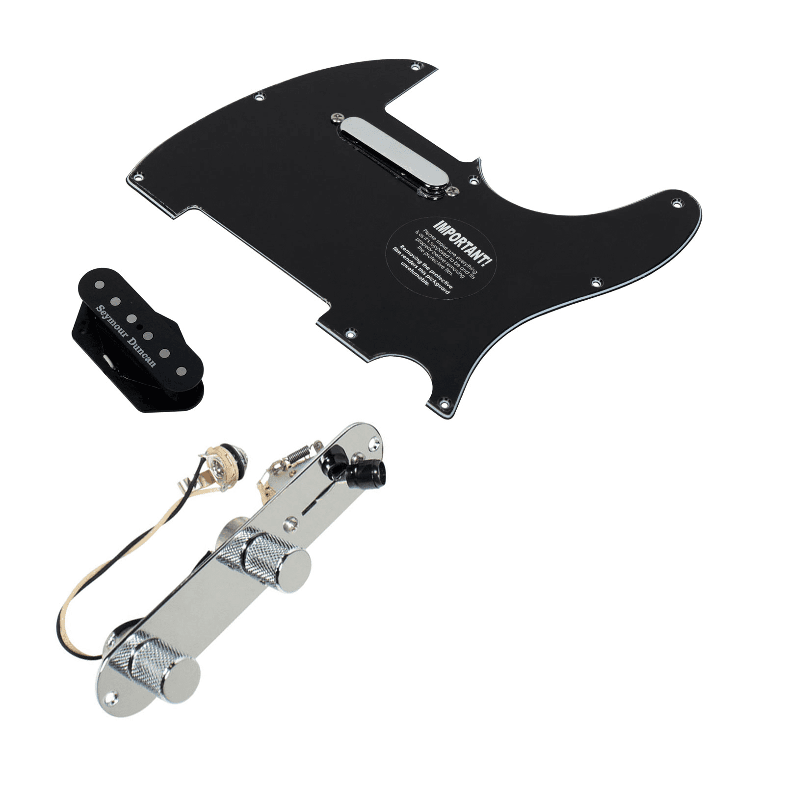 Fender Tele Telecaster Loaded Pickguard Seymour Duncan Hot Pickups T3W, Black by