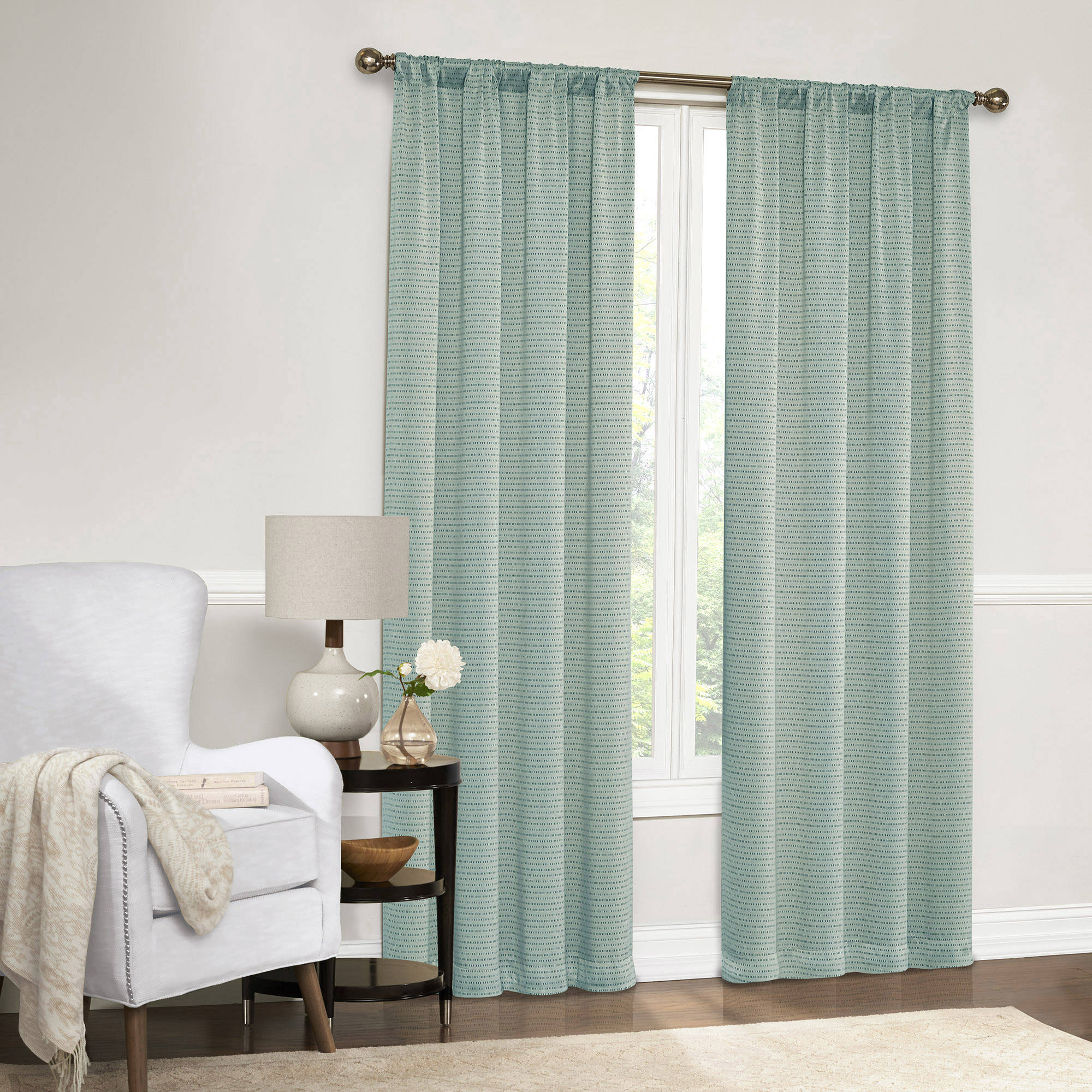Mainstays Dotted Room Darkening Curtain Panel in Multiple Sizes by Ellery Homestyles