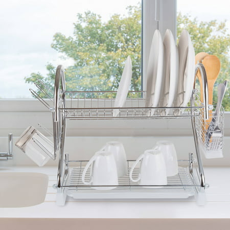 Chef Buddy Chrome Dish Drying Rack, 2 tiered with Cup and Utensil Holders
