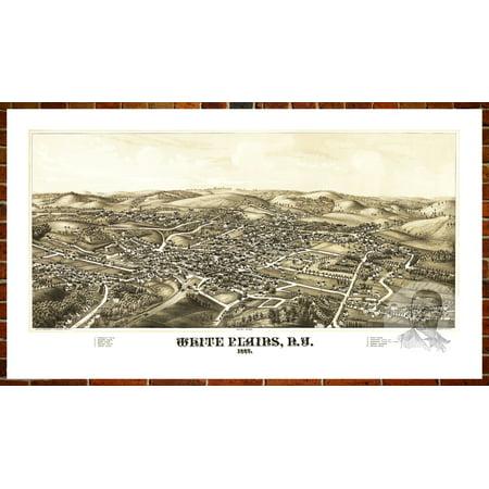 Ted's Vintage Art Map of White Plains, NY 1887; Old New York Decor 12