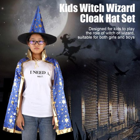 Witches Cloak (Aramox Kids Witch Wizard Cloak Hat Set Shinng Stars Pattern for Halloween Cosplay, Halloween Cosplay Cloak Hat Set, Witch Wizard Cloak Hat)