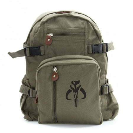 Star Wars Mandalorian Skull Boba Fett Sport Heavyweight Canvas Backpack Bag - Boba Fett Jetpack Backpack