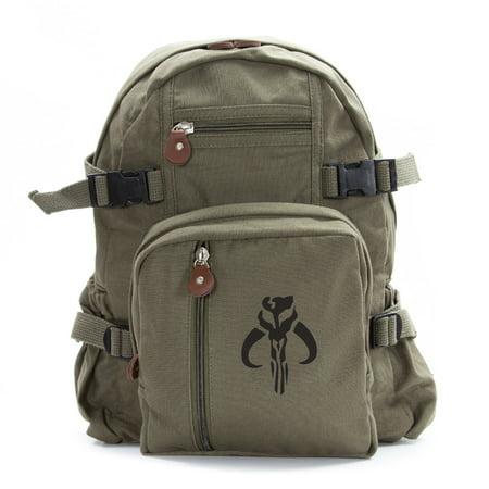 Star Wars Mandalorian Skull Boba Fett Sport Heavyweight Canvas Backpack - Star Wars Book Bag