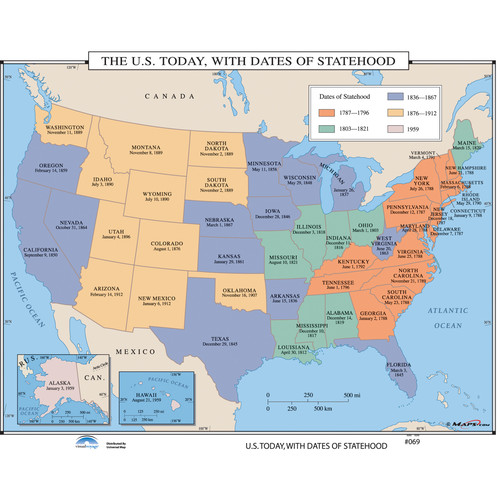 Universal Map U.S. History Wall Maps - U.S. Today, With Dates of Statehood