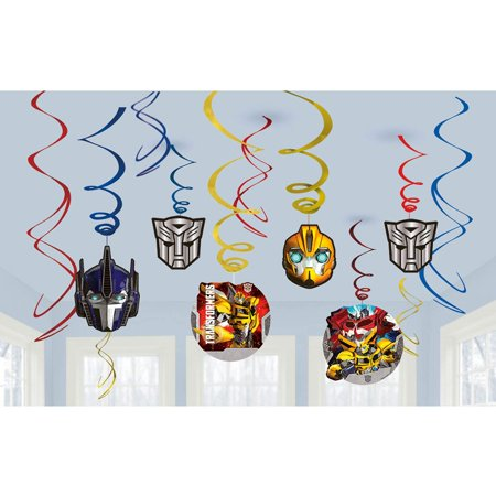 Transformers Foil Swirl Hanging Decorations (12 Pack) - Party Supplies