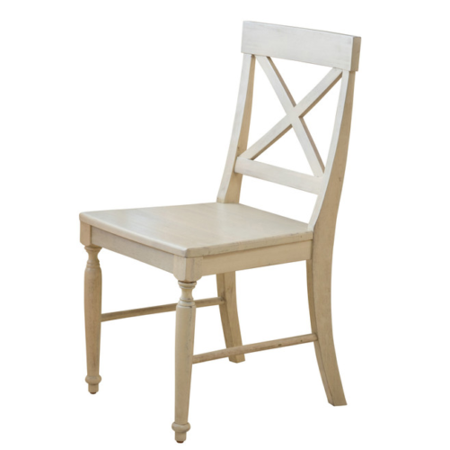 GHP Set of 2 Antique White French Country Seat Crisscross Solid Wood Dining Chairs