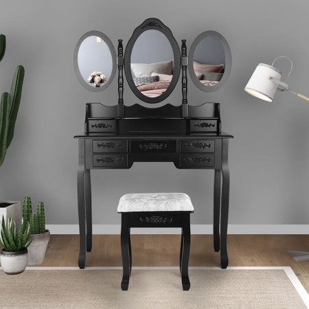 Jaxpety Makeup Vanity Table Set Tri Folding Mirror w/7 Drawer Makeup Dressing Desk Vanity Set with Stool Black