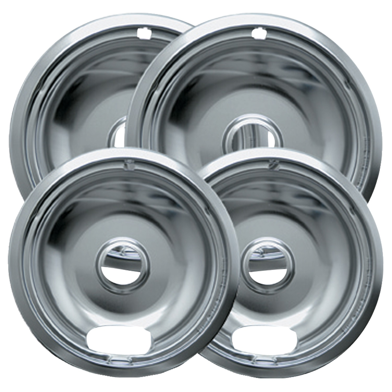Range Kleen 4-Piece Drip Bowl, Style A fits Plug-in Electric Ranges Amana, Crosley, Frigidaire, Kenmore, Maytag, Whirlpool, Chrome