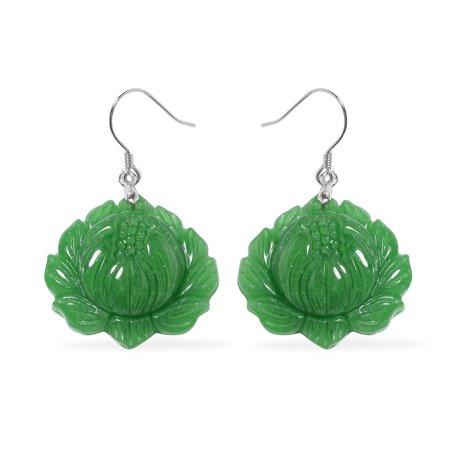Dangle Drop Earrings 925 Sterling Silver Dyed Color Green - Green Jade Drop