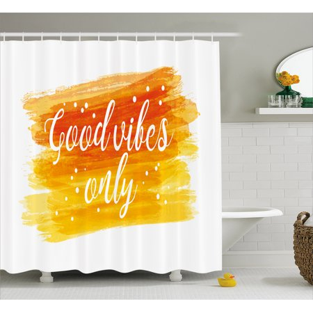 Letter Writing Set - Good Vibes Shower Curtain, Watercolor Art Modern Calligraphy Message Hand Writing Letters and Dots, Fabric Bathroom Set with Hooks, 69W X 84L Inches Extra Long, Orange Yellow White, by Ambesonne