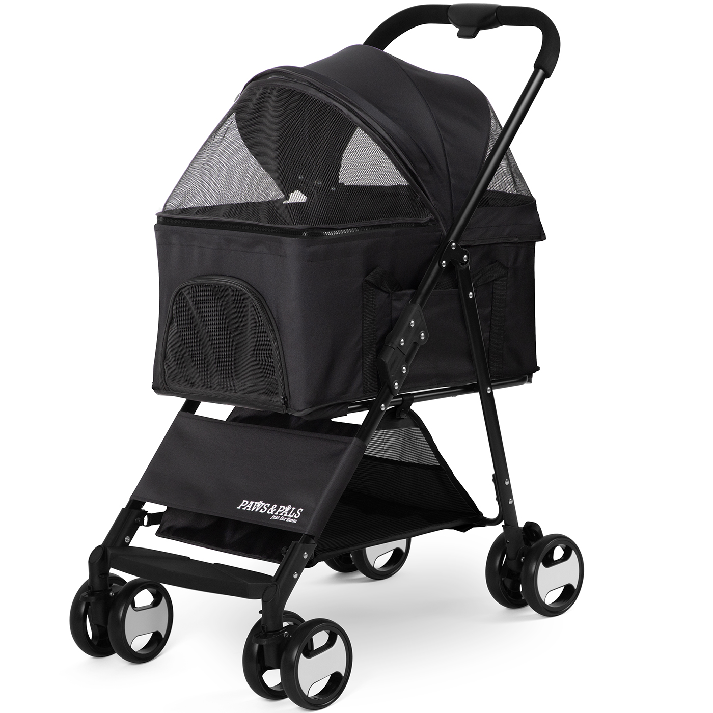 Pet Stroller 2-In-1 Detachable Carrier Dog Cat 4 Wheel Foldable Travel Walk by Paws & Pals