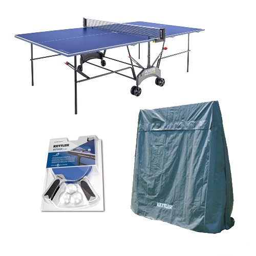 Kettler Outdoor Table Tennis Table - Axos 1 with Outdoor Accessory Bundle