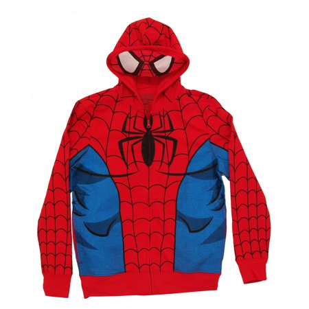 marvel comics spiderman f/b adult costume hoodie hooded sweatshirt