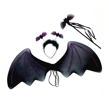 Mozlly Mozlly Black Bat Headband, Glittery Wings and Wand w/ Ribbons Pretend Play Costume for Children One Size Fits Most Shoulder Straps for Easy Fit Halloween Party Trick Or Treat For Kids (3pc Set) - Easy Halloween Treats Kids