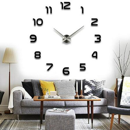 3D Large Number Wall Clock Mirror Sticker Modern Home Office Decor Art DIY Craft Black - Clock Craft