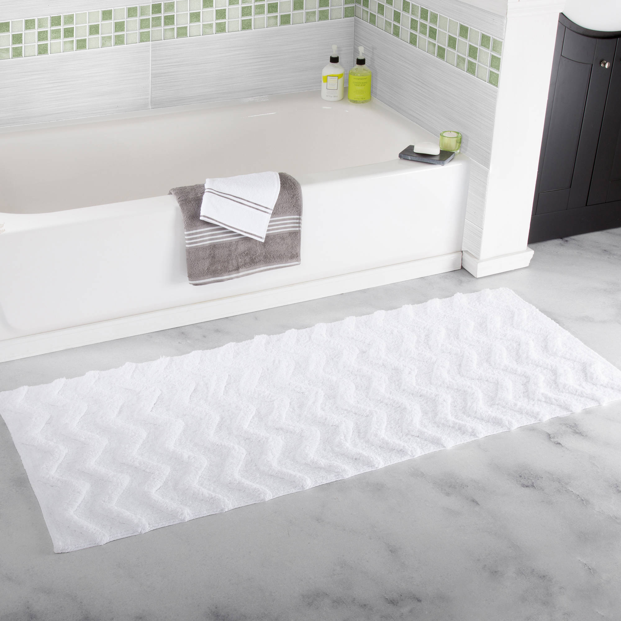 "Somerset Home 100% Cotton Chevron Bathroom Mat, 24"" x 60"" - White"
