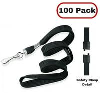 """Mifflin 18"""" Flat Black Safety Lanyards, 5 Pack"""