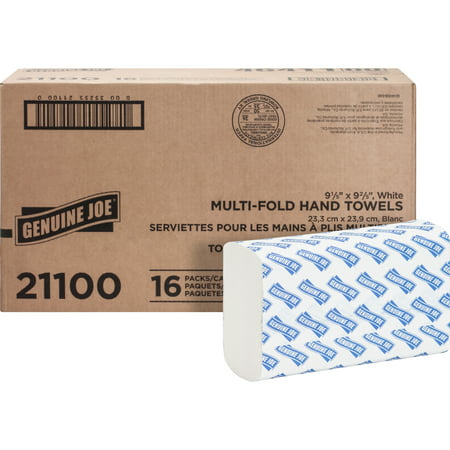 Bleached Single Fold Towels - GJO21100 Multifold Towels, 250 sheets per pack, 16 pack