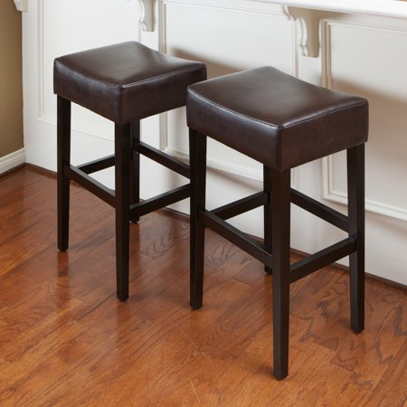 roby brown leather backless bar stools set of 2. Black Bedroom Furniture Sets. Home Design Ideas