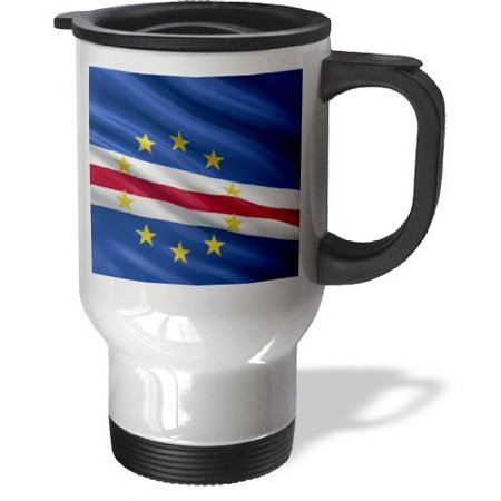 3dRose Flag of Cape Verde waving in the wind, Travel Mug, 14oz, Stainless Steel