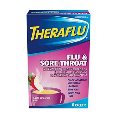 5 Pack TheraFlu Flu  & Sore Throat Relief Apple Cinnamon Flavor 6 Packets Each