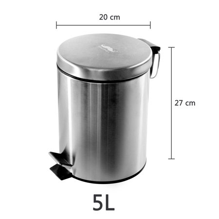 Moustache Wastebasket Stainless Steel Step Trash Can, 5L ,20 x 27 cm - image 6 of 7