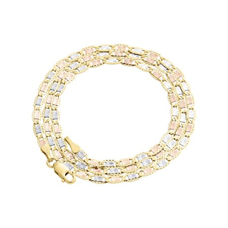 10K Tri-color Gold 2.75mm Valentino Link Chain Necklace Lobster Clasp, 20 Inches (10 K 20 Inch Gold Chain)