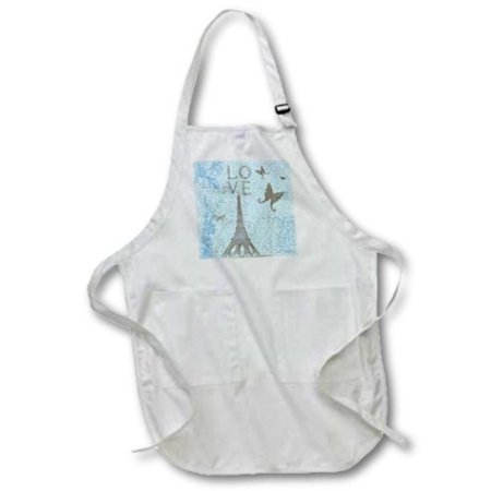 3Drose Love Eiffel Tower Blue Script And Butterflies  Medium Length Apron  22 By 24 Inch  With Pouch Pockets