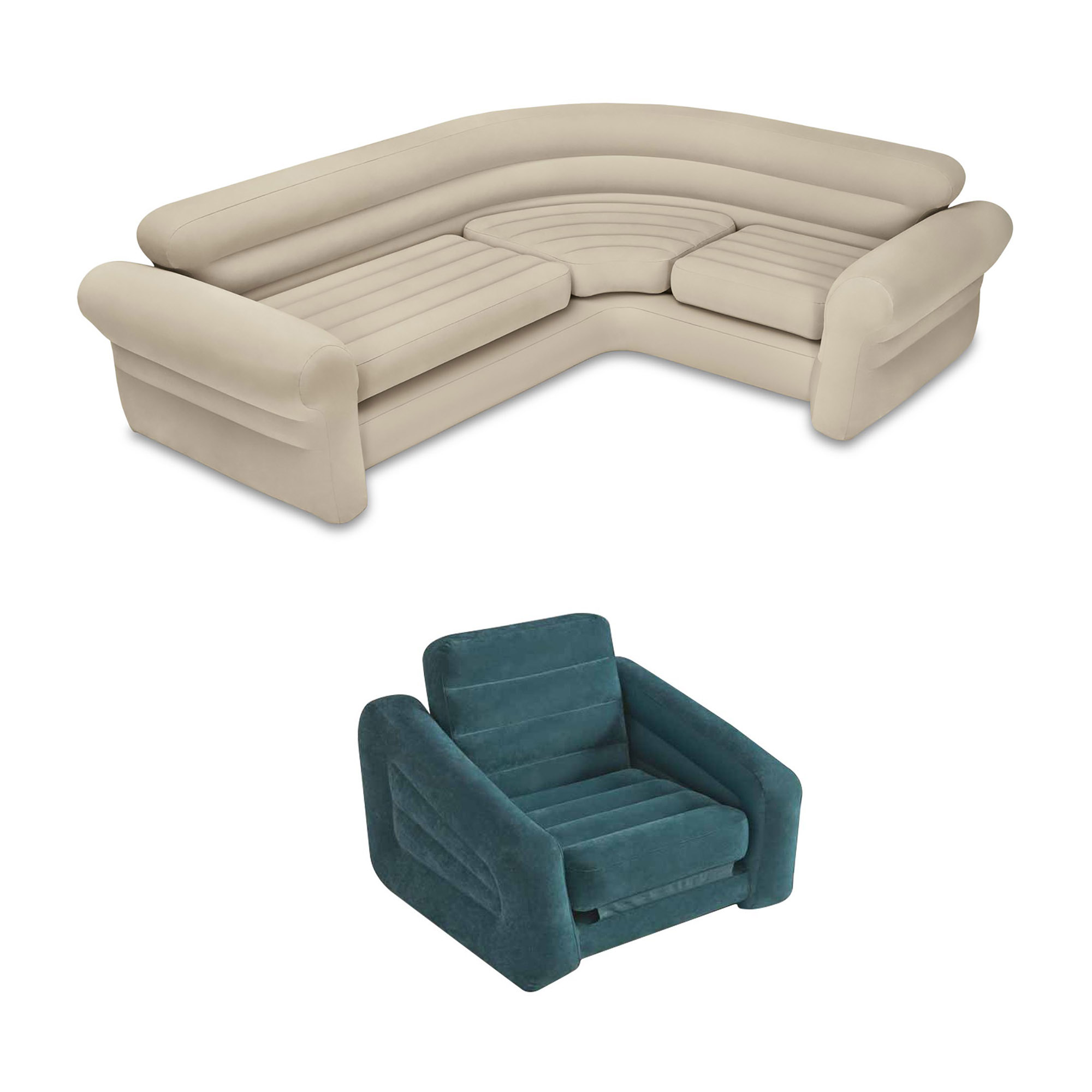 Intex Inflatable Corner Sectional Sofa & Inflatable Air Mattress Pull-Out Chair by Intex